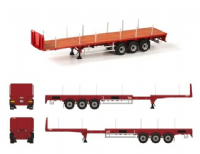 WSI Premium Line Red extending Flatbed Trailer (3 axle)